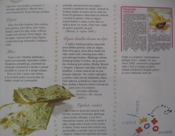 Detalj iz knjige Oblizeki - Moslavina za stolom Božice Brkan, Acumen i Večernji list, Zagreb, 2006.